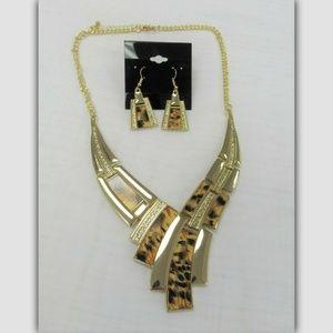 Gold Brown Animal Print Necklace Set Cheetah